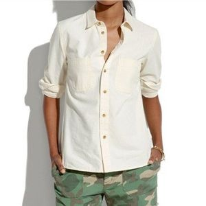 Madewell Ivory White Canvas Button Down Shirt